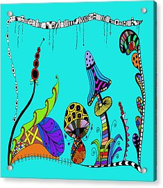 Whimsical Mushrooms Acrylic Print by Susan Leggett
