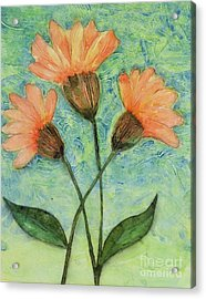 Whimsical Orange Flowers - Acrylic Print by Helen Campbell