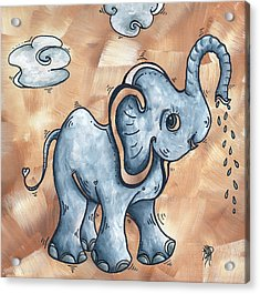 Whimsical Pop Art Childrens Nursery Original Elephant Painting Adorable By Madart Acrylic Print by Megan Duncanson