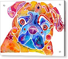 Whimsical Pug Dog Acrylic Print by Jo Lynch