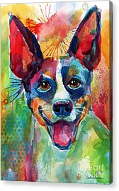 Whimsical Rat Terrier Dog Painting Acrylic Print