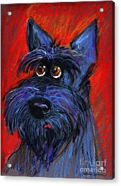 whimsical Schnauzer dog painting Acrylic Print