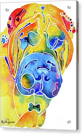 Acrylic Print featuring the painting Whimsical Shar Pei by Jo Lynch
