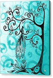 Whimsical Tree And Magical Bird Acrylic Print by Irina Sztukowski