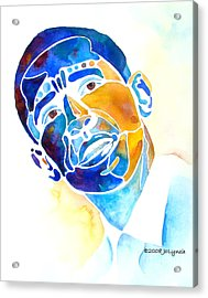 Whimzical Obama Acrylic Print by Jo Lynch