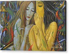Acrylic Print featuring the painting Whispering Mermaids by Glenn Quist
