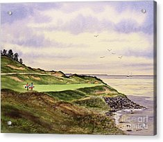 Acrylic Print featuring the painting Whistling Straits Golf Course Hole 7 by Bill Holkham
