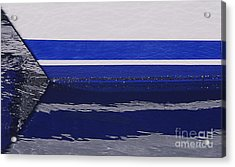 White And Blue Boat Symmetry Acrylic Print