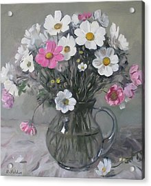 White And Pink Cosmos Bouquet In Water Pitcher No. 2 Acrylic Print
