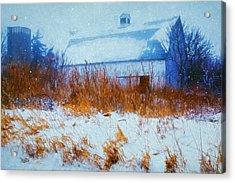 White Barn In Snowstorm Acrylic Print