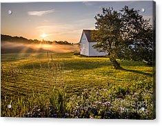 White Barn Sunrise Acrylic Print by Benjamin Williamson