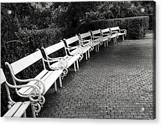 White Benches-  By Linda Wood Woods Acrylic Print by Linda Woods