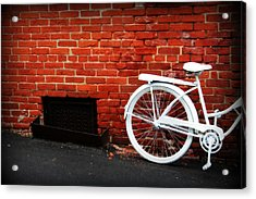 White Bike On Red Brick Acrylic Print