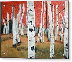 Acrylic Print featuring the painting White Birches by Betty-Anne McDonald