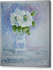 White Blooms In Blue Vase Acrylic Print