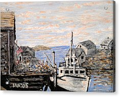 Acrylic Print featuring the painting White Boat In Peggys Cove Nova Scotia by Ian  MacDonald