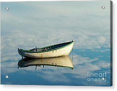 White Boat Reflected Acrylic Print