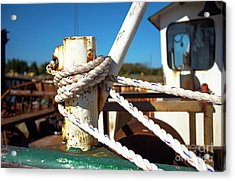 Acrylic Print featuring the photograph White Boat Rope by John Rizzuto
