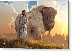 White Buffalo Calf Woman Acrylic Print by Daniel Eskridge