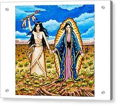 White Buffalo Woman And Guadalupe Acrylic Print
