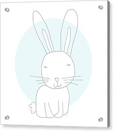 White Bunny On Blue- Art By Linda Woods Acrylic Print by Linda Woods