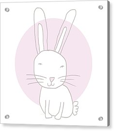 White Bunny On Pink- Art By Linda Woods Acrylic Print by Linda Woods