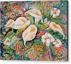 White Callas Acrylic Print by John Keaton