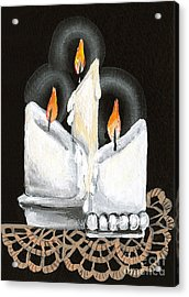 White Candle Trio Acrylic Print by Elaine Hodges