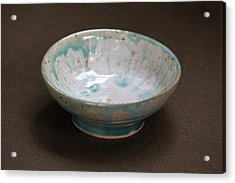 White Ceramic Bowl With Turquoise Blue Glaze Drips Acrylic Print by Suzanne Gaff