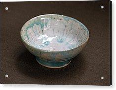White Ceramic Bowl With Turquoise Blue Glaze Drips Acrylic Print