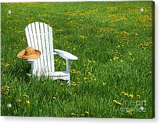 White Chair With Straw Hat Acrylic Print by Sandra Cunningham
