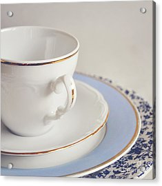 Acrylic Print featuring the photograph White China Cup, Saucer And Plates by Lyn Randle
