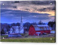 White Church And Red Barn - Peacham Vermont Acrylic Print by Joann Vitali