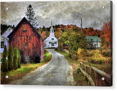 White Church In Autumn - Vermont Country Scene Acrylic Print