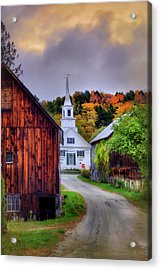 White Church In Autumn - Waits River Vermont Acrylic Print by Joann Vitali