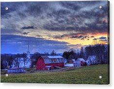 White Church Red Barn Country Scene - Peacham Vermont Acrylic Print by Joann Vitali