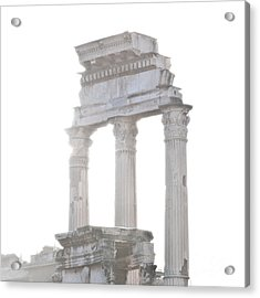 White Columns Temple Of Castor And Pollux In The Forum Rome Italy Acrylic Print by Andy Smy