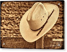 White Cowboy Hat On Fence Acrylic Print
