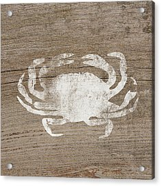 White Crab On Wood- Art By Linda Woods Acrylic Print