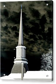 White Cross Dark Skies Acrylic Print
