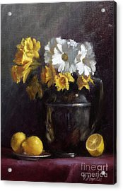 White Daisies And Daffodils  Acrylic Print by Viktoria K Majestic