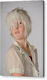 White Feather Wig Girl Acrylic Print