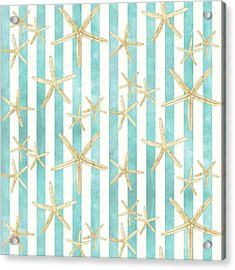 White Finger Starfish Watercolor Stripe Pattern Acrylic Print by Audrey Jeanne Roberts