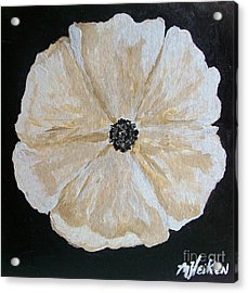 White Flower On Black Acrylic Print
