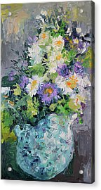 White Flowers, Modern Relief Painting Acrylic Print by Soos Roxana Gabriela