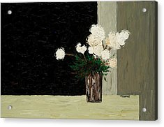 White Flowers On Black And Neutral Acrylic Print by Timothy Clayton