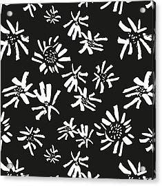 White Flowers On The Black Acrylic Print