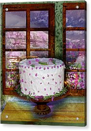 White Frosted Cake Acrylic Print by Mary Ogle and Miki Klocke