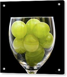 White Grapes In Glass Acrylic Print by Wim Lanclus