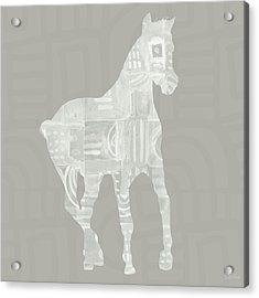 White Horse 3- Art By Linda Woods Acrylic Print